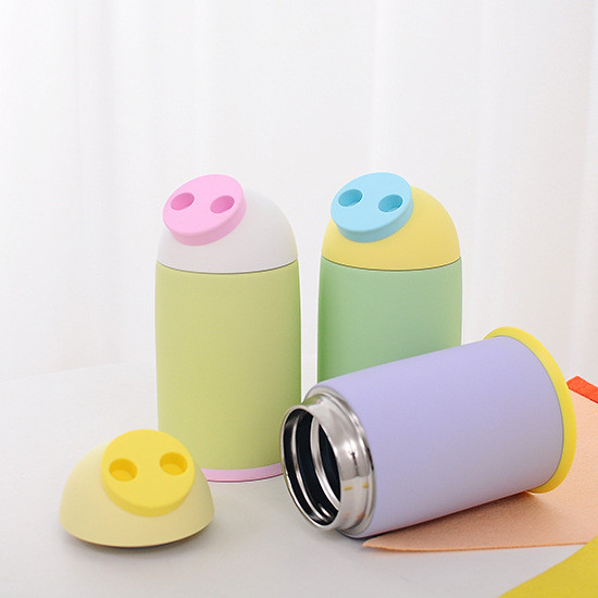 280ml Lovely Cartoon Pig nose Stainless Steel Cute Bottle For children back to school Vacuum Flask 4 Colors travel portable HJ84(China)