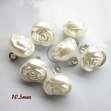 60pcs 10.5mm Copper feet pearl flower buttons for sewing women clothing diy craft wedding decor accessories sewing supplies(China)