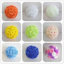 20CM Artificial Rose Silk Flower Kissing Balls Hanging Flowers Ball For Wedding Christmas Ornaments Party Decoration Supplies(China)