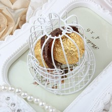 1 PC New Luxe White Bird Cage Wedding Party Gift Box Favor Metal Candy Chocolate Flower Decor P0.05