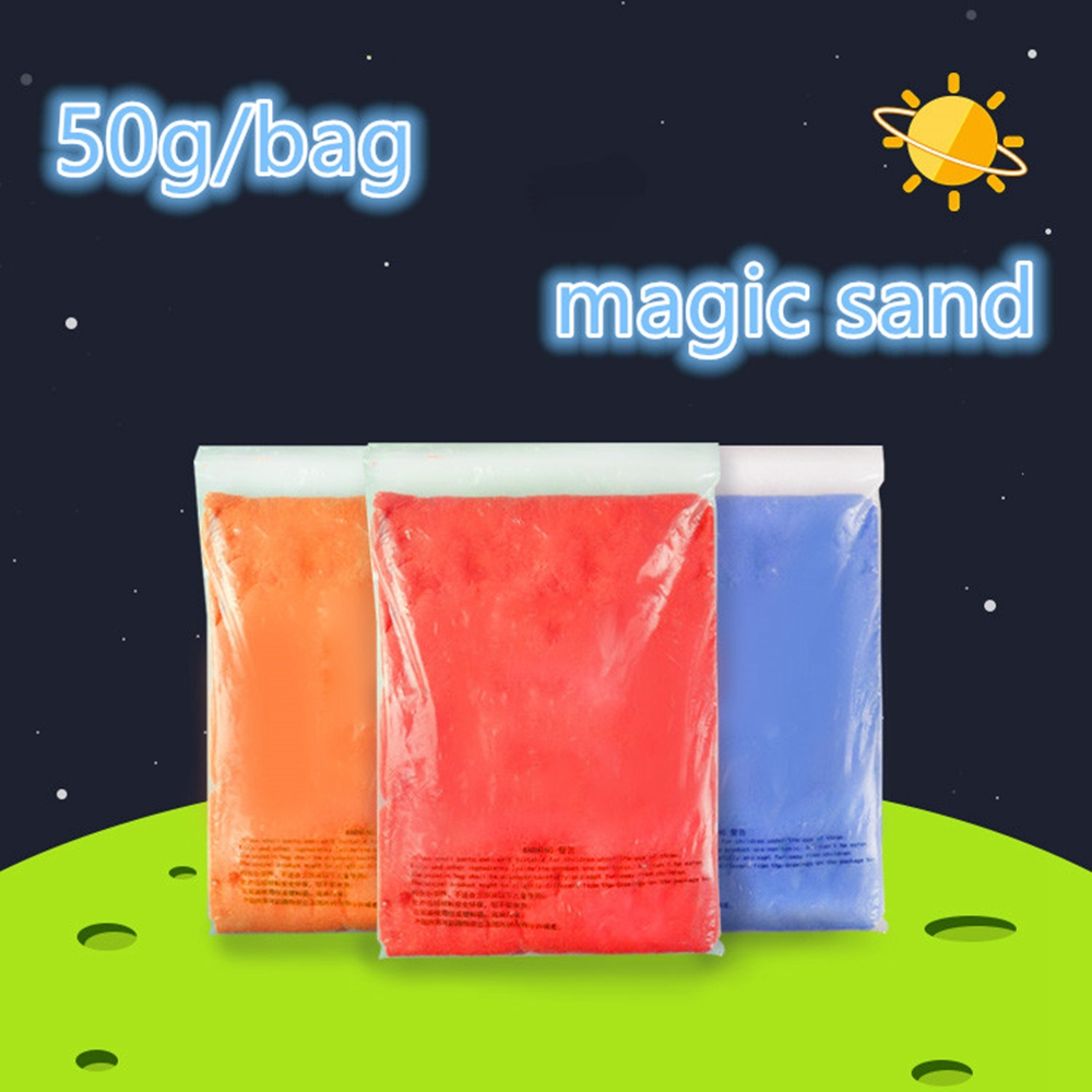 DoDoLu Brand 50g/bag Kinetic Clay Dynamic Sand Amazing Indoor Magic Play Sand Educational Children Toys Colors Mars Space Sand<br><br>Aliexpress