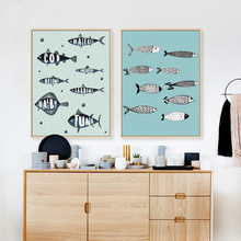 BIANCHE WALL Nordic Mediterranean Simple Fish A4 Art Poster in Canvas Painting Wall Pictures for Bedroom Home Wall Decoraiton