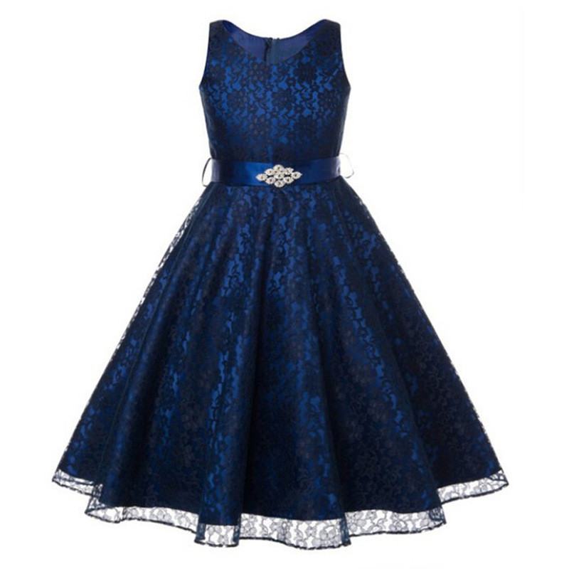 2017 New Arrival Flowers Girls Dress For Wedding And Party Lace V Neck Bridesmaid Girls Clothes Summer Princess Dresses For Girl<br><br>Aliexpress