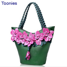 Ladies' Tote Bag Leather Handbag 2017 New Stitching Color Fluorescent Fashion Flowers Woven Large Capacity Single Shoulder Bags