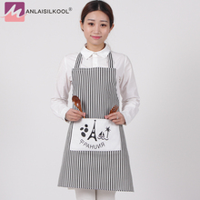 Fashion Linen Stripe Apron with Pockets Cafe Waiter Kitchen Cook Household Cleaning Tools Kitchen Apron 2017 Free Shipping(China)