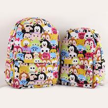 2017 tsum Mickey Minnie Canvas Shoulder Backpack Student Casual Bags Kids Travel Bags Mochila Feminina Bags(China)