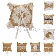 20 x 20cm Vintage Wedding Ring Pillow Jute Natural Burlap Lace Ring Bearer Pillow Cushion Holder for Wedding Accessories(China)