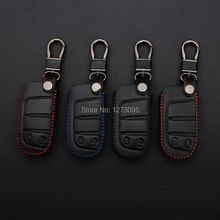 Hand Stitched Genuine Leather Car Keychain for Dodge Journey 2012 2013 2014 2 Buttons Smart Remote Key Cover Case Auto Accessory