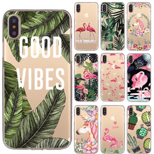 Silicon Capa Case iPhone 7 7Plus 6 6S 5 5S SE Case Soft Cover Flower Leaves Bird Case iPhone 8 8Plus X XS Max XR Coque