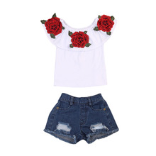 Children Clothing Set  Kids Baby Girls 3D Flower White T Shirt Tops + Denim Hole Shorts Outfits Clothes