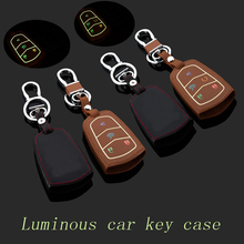 Genuine Leather car Key fob case cover for Cadillac SRX XTS SLS CTS ATS Smart keychain ring key holder bag Auto Accessories
