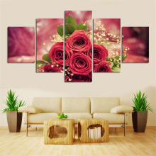 Fashion 5pcs Home Decor Picture Printed Modern Abstract Huge Rose Painting On Art Canvas Modular Picture for Home Decoration(China)