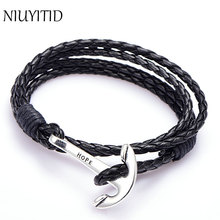 NIUYITID 40cm PU Leather Men Bracelet Jewelry Man Anchor Bracelet Wristband Charm Braclet For Male Accessories Hand Cuff(China)