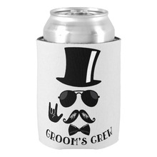 Wonderful Party Accessories Groom's Crew Bachelor Party Hipster Favors Can Cooler Beer Holders for Groom Beverage Insulators
