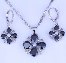 Excellent Black Imitation Onyx Cubic Zirconia Flower Shaped Silver Color Necklace/Pendant/Hoop Earrings Jewelry Sets X0350