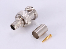 10pcs Crimp BNC Male RG59 Coax Coaxial adapter Connector Plug 3-Piece For CCTV camera
