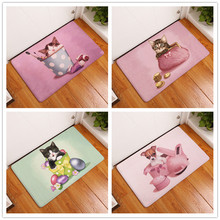 2017 New Cartoon Cat And Dog Print Carpets Bathroom  Mats  Anti-Slip  Rugs  40X60 50X80cm.