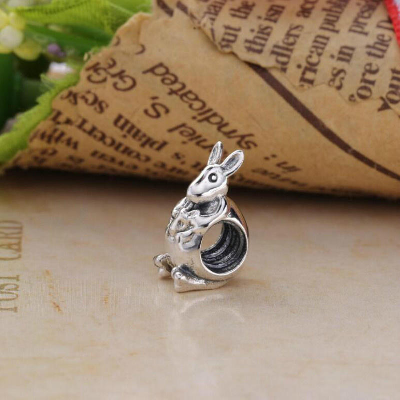 High Quality 925 Sterling Silver Beads Cute Kangaroo Fits Original Pandora Style Charm Bracelets & Necklaces DIY accessories