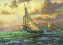 Free shipping Thomas Kinkade landscape reproduction sailing seascape painting prints canvas sale(China)