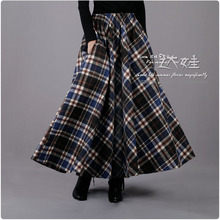 2017 Spring Winter Women Long Skirt Blue Black Plaid Skirt Women's Elastic Waist Retro Wool Skirt Casual Maxi Skirt Saia XL XXL(China)