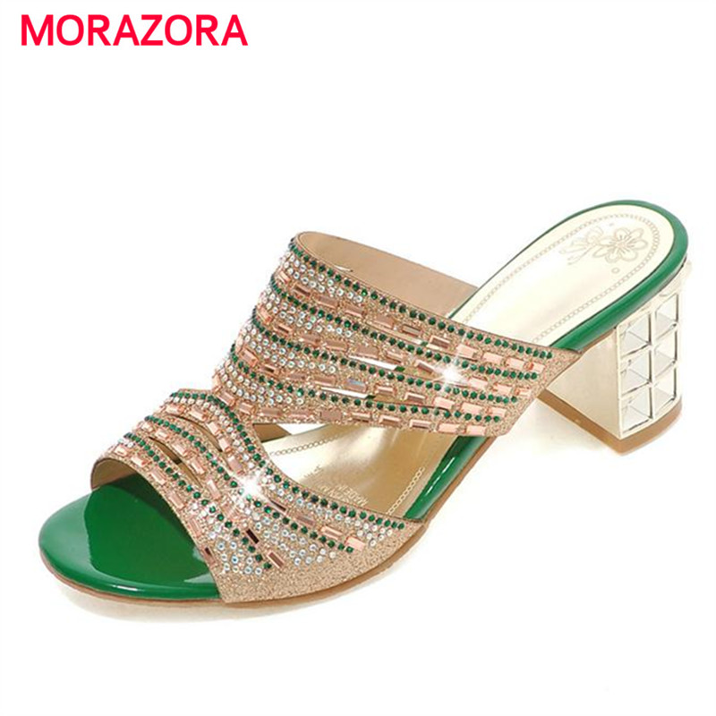 MORAZORA Big size 33-44 Square high heels shoes women sandals summer rhinestone party shoes elegant fashion ladies shoes<br>