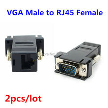 2pcs D-Sub VGA to RJ45 Network Cable Adapter RJ45 Converter VGA Male To RJ45 Extender Adapter Connector LAN CAT5 5e CAT6 HY378*2
