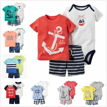 Baby Boy Summer Clothes set , 3piece of set baby boy clothing infant soft Cotton carter T-shirt and Shorts set