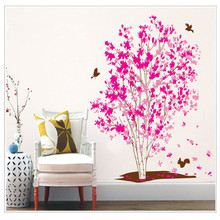 1PC 70*88cm Red Maple Tree Vinyl 3D Wall Stickers Home Decor DIY butterfly Wallpaper Art Decals girl room House Decoration s2