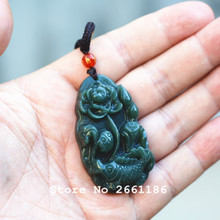 Certificate Natural Green Jades Pendant Carved Lotus and Fish Lucky Pendant Necklace Gift for Women's Fashion Jewelry Free Rope