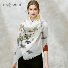 [BAOSHIDI] 100% cashmere Winter Scarf,luxury brand long scarves women,Elegant fashion pashmina shawl, warm soft tassel hijab(China)
