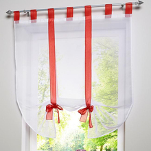 Tiyana Roman Tulle Curtain Window Valance Half-curtain Embroidery Leaves Customize Panel Drape Tab Tape for Kitchen Door DL002D3(China)