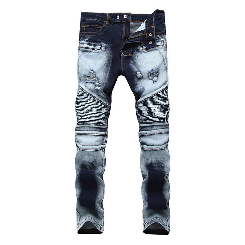 Men's Fashion Brand Designer Ripped Biker Jeans Men Distressed Moto Denim Joggers Washed Pleated Jean Pants Black Blue 3