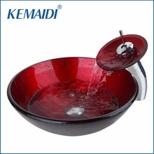 KEMAIDI Luxury Combo Set Mixer Round Taps Sink Faucet Pop Up Drain Bathroom Glass Basin Vanity Waterfall Spout Chrome Bath Set(China)