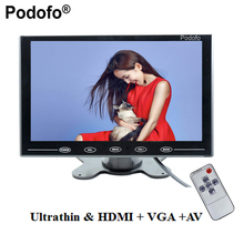 "Podofo 9"" LCD Monitor TFT Mini Color Monitor 2Channel Video Input Monitor Display Screen For PC CCTV HDMI AV-In Security Monitor"