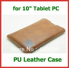 "100pcs DHL 10"" PU Leather Sleeve Case for Tablet PC 10 inch Sanei N10 3G Ampe A10 Pipo M3 Ainol Novo 10 Hero/Hero II Cube U30GT"