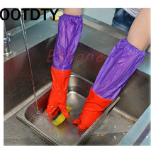 OOTDTY Waterproof Kitchen Household Warm Dishwashing Glove Water Dust Stop Cleaning Rubber Latex Gloves