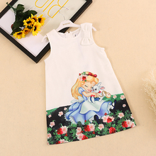 BRWCF Kid Dress for Girls 2017 New Spring&Summer Baby Girls Dress Snow White Pattern Pring Sleeveless Girls Clothes 2-8Y