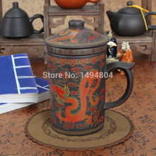 400ML Chinese Yixing Tea Set,Purple Clay Tea Cup,Dragon Tea Cups,Home Office Teaset,Zisha Cups(China)