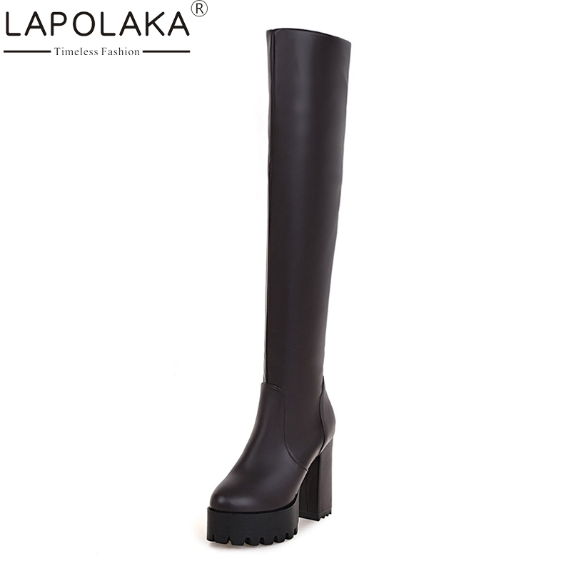 LAPOLAKA Elastic Large Size 33-43 Add Plush Black Brown Over The Knee Boots Sexy Platform Super High Heels Party Shoes Women<br>