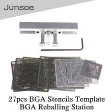 27pcs BGA Directly Heat Rework Reballing Universal Stencils Template + BGA Reballing Station Jig Kit