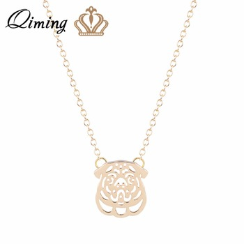 10pcs Pug Pendant Animal Dog Necklace Silver Chain Charm Christmas Gift For Pet Lovers Women Dog Jewelry Wholesale