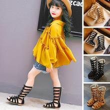 2017 Summer 2 Colors Baby Girl Cut-Outs Hollow Roman Sandals Children Knee Boots Gladiator Kid Flat Glitter Star Zipper Shoes