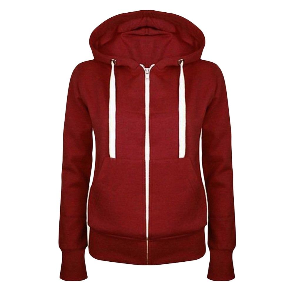 Hot New Winter Autumn Women hoodie Coats Jackets casual hooded top coat Sportwear zipper jacket solid color 17 hoodies Outwear 2