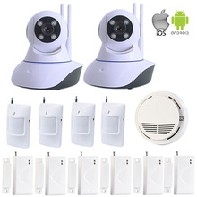 Remote Control MonitoringWIFI IP Camera Home Security System Wireless Indoor PTZ 433MHz Smoke Detector Door /Motion Sensor W11J