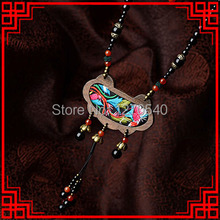 Chinese Culture The Eight Diagrams Luxury Black stone Bohemian ethnic necklace , wood pendants embroidery vintage necklace(China)