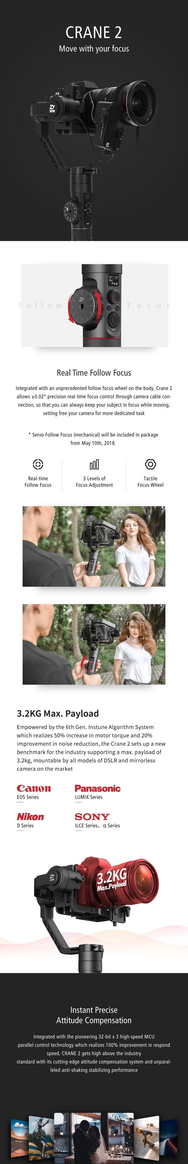 Zhiyun Crane 2(Servo Follow Focus Included)3-Axis Handheld Gimbal Stabilizer Wireless Remote 7lb Payload Display 18H Runtime666