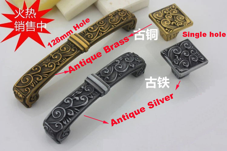 Single/128mm Antique Kitchen Cabinet Drawer Baroque Handle<br><br>Aliexpress