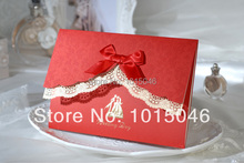 Free Shipping 20 X Lace Wedding Invitation Card With Red Bow Customized With Envelope Ideas Blank Inside Wedding Gift
