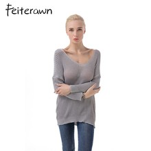 2017 Autumn Winter Long Sleeve V Neck Knitted Sweater Solid Color Casual Loose Crochet Pullover pull femme hiver SW128(China)