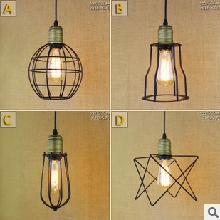 60W Vintage Lamp Industiral Pendant Light With Black Lampshade in Loft Style Lamparas Colgantes<br>